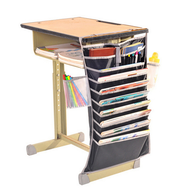 1 PC Desk Side Hanging Bag 10 Slot Oxford Fabric File Organizer Book Pocket Paper Sorter Pencil Phone Staionery Holder 2 Colors