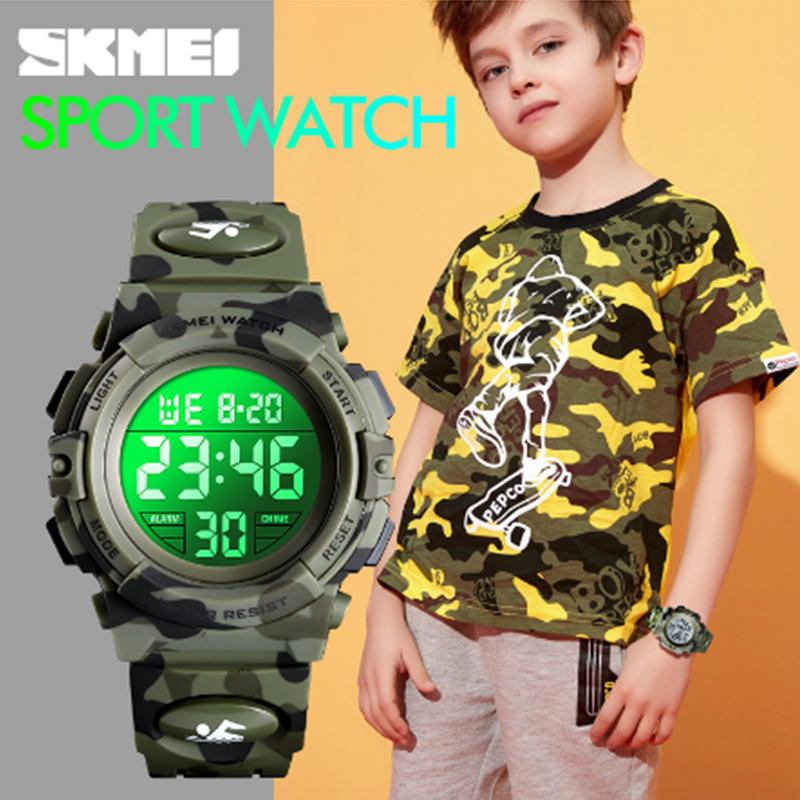 <font><b>SKMEI</b></font> Kids Watches Sport Children's Watch 5bar Waterproof Fashion Colorful Lights 12/24Hour Camouflage relogio infantil <font><b>1548</b></font> Boy image