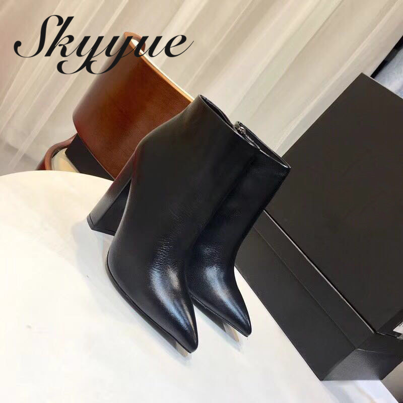 SKYYUE Genuine Leather Brown Pointed Toe Women Boots Zip Side Chunky Heel Women Autumn Winter Boots Shoes Women Ankle Boots women autumn winter wedges chunky heel height increase elevator genuine leather buckle zip fashion ankle boots 34 39 sxq0724