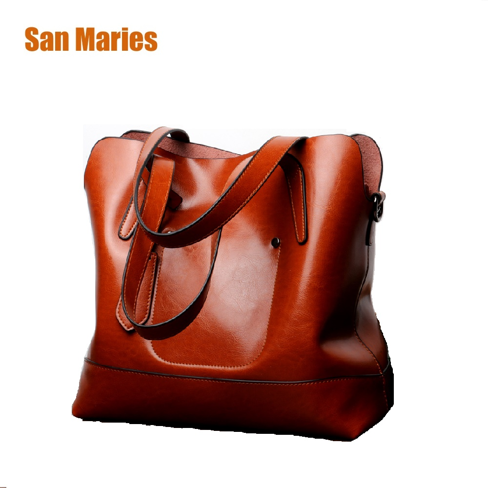 San Maries Cow Leather Handbags Bolsos Mujer De Marca Famosa Female Vintage Bag for Women Shoulder Bag Large Capacity Tote Bags kzni womens genuine leather crossbody bag messenger bag famous woman bag bolsos mujer de marca famosa 2017 cuero genuino l032309