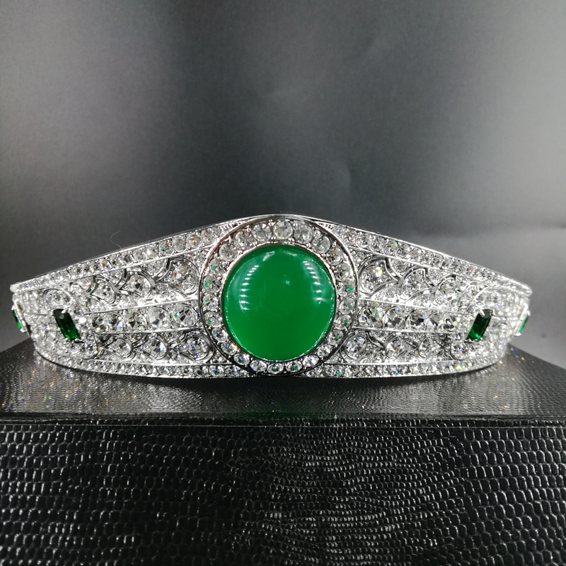 New Fashion Vintage Paved green CZ Crown Cubic Zircon big Tiara Wedding bride banquet dinner dress Hair Jewelry free shippingNew Fashion Vintage Paved green CZ Crown Cubic Zircon big Tiara Wedding bride banquet dinner dress Hair Jewelry free shipping