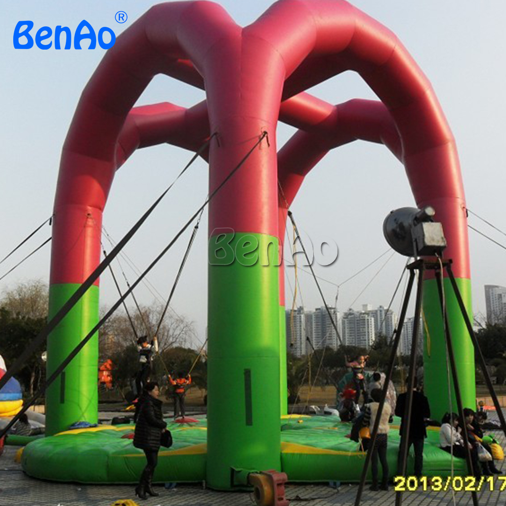 S014 BENAO Free shipping inflatable Bungee trampoline/,bungee jumping trampoline for sports games
