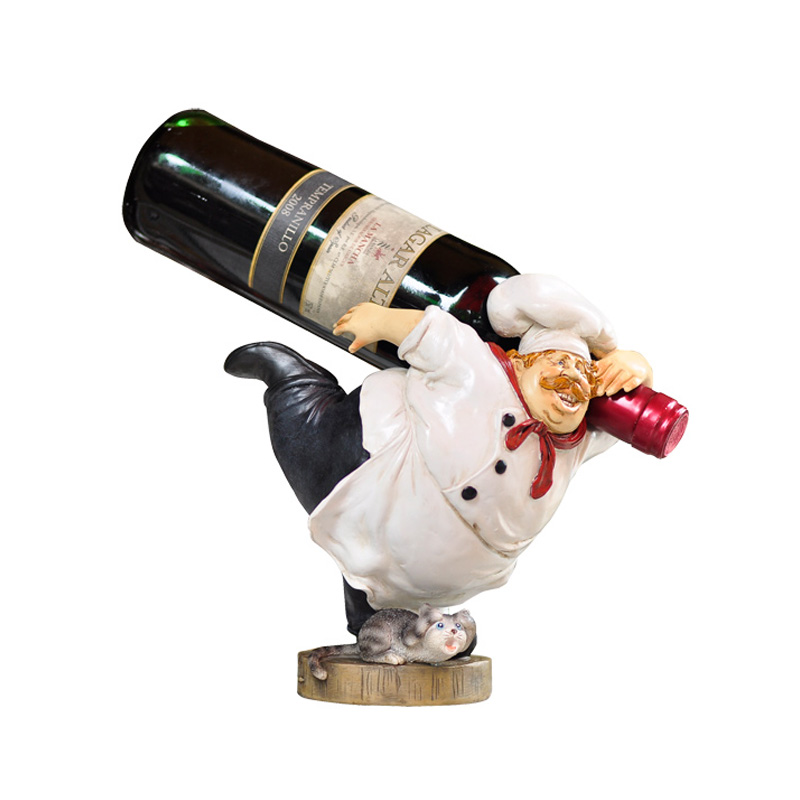 Maison créative ménage doux tenue salon résine décoration barbu Chef vin accessoires casier à vin boulangerie ornements