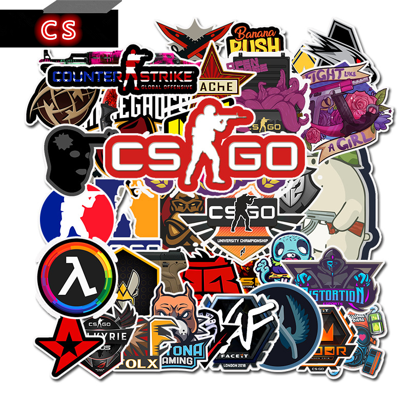 50Pcs Game CS GO Counter-Strike Sticker Guitar DIY Photo Albums Luggage Laptop Surfboard Skateboard Bicycle Fridge Sticker Decal