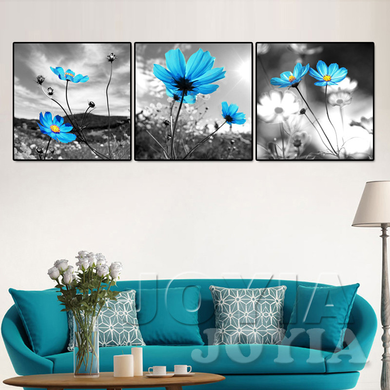 Canvas Wall Art Pictures Blue Flower Painting Gray Printed