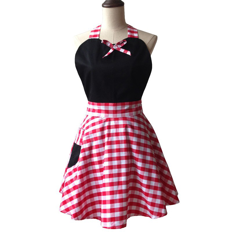 Black Retro Sweetheart Woman Kitchen Apron Salon Hairdresser Cleaning Cooking Cotton Apron Dress Avental de Cozinha Divertido