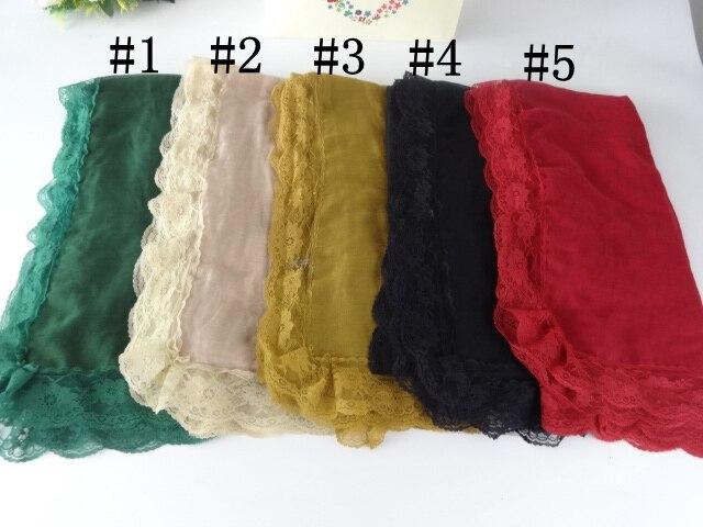 Obyčejný květinový krajkový okraj šátek dlouhé ženy šátek muslimská zábal zábal hidžáb bavlna viskóza šátek romantický luxusní šátek 10ks / lot