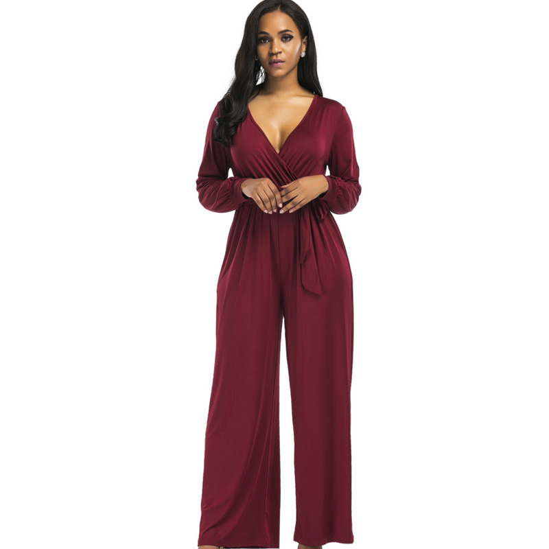 2018 sexy V neck Wide Leg Pants Elegant jumpsuits romper Blue Long Sleeve Plus Size tunic Overalls For Women Combinaison Femme 1
