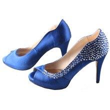 Handmade sapphire blue pleated open toe woman high heels rhinestone diamond bridal wedding party bridalmaids pumps red  orange