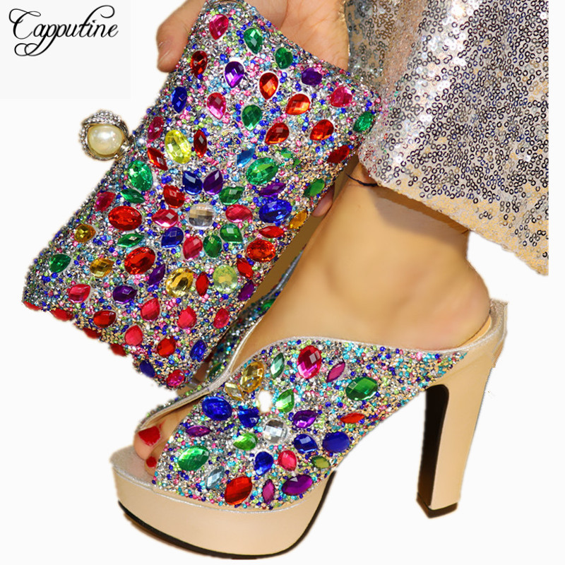 Capputine Italian Shoe With Matching Bag For Party Rhinestone Wedding Shoes And Bag Set High Quality Women Pumps Shoes And Purse