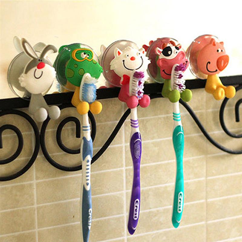 5pcs Different Creative Cute Cartoon Animals Style Strong Suction Cup Toothbrush Holders image