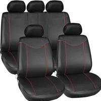 Universal 11pcs Full Seat Cover Set Car Seat Cover Low Front Back Set Black Red