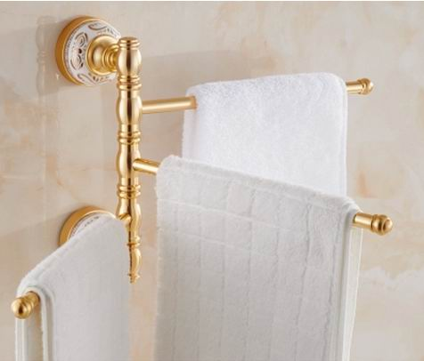 Free Shipping Bathroom Revolve Towel Bar Aluminum Three Tiers Four Tiers Holder Rack Wall Mounted toothbrush tumbler cup holder new arrival solid brass bathroom revolve towel bar antique brass four tiers bath towel holder rack wall mounted