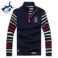 Fashion Brand Tace & Shark Sweater Men High Quality Stand Collar Half Zipper Straight Men's Sweater Pullovers Shark Emboridery