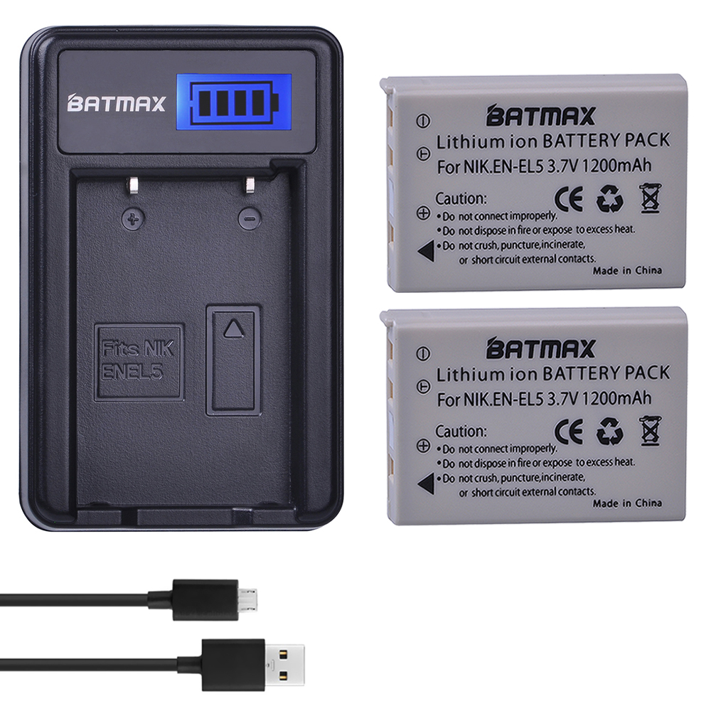 2Pcs 3.7V 1200mAh EN-EL5 EN EL5 ENEL5 Battery + LCD USB Charger for NIKON Coolpix P530 P520 P510 P100 P500 P5100 P5000 P6000