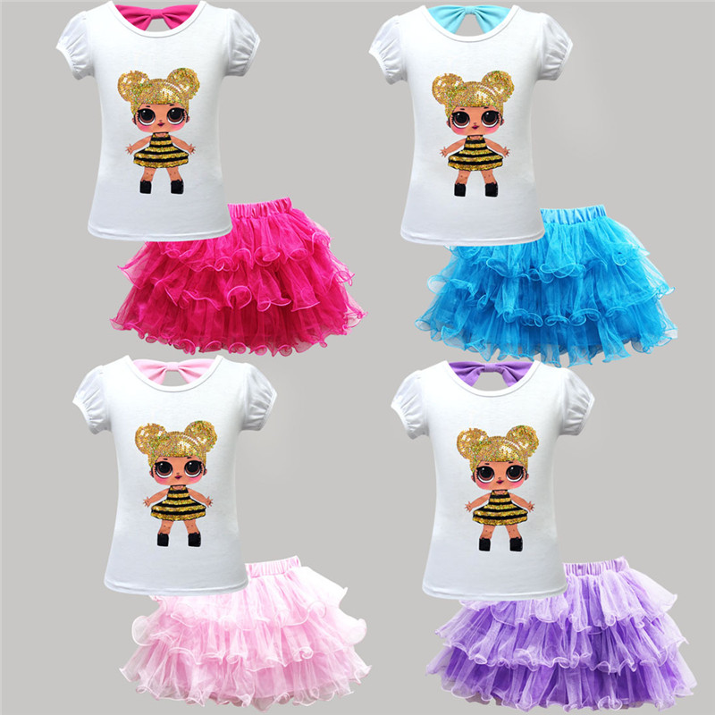 Children's Suits Baby Girls Clothes Set Fashion 2019 New Lol Pattern T-shirt Lace Skirt Cute Children's Wear For Birthday Party