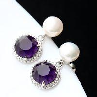 2019 silver fashion jewelry s925 sterling silver women's earrings set purple zirconium natural pearls or lend silver earrings