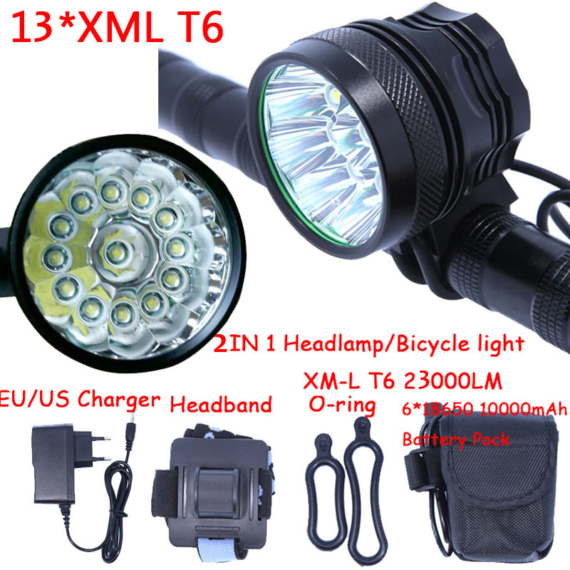 13t6 2 in 1 Headlamp Headlight Super Bright 13 x XM-L T6 LED Bicycle Light Cycling Bike Head Lamp + 18650 Battery Pack+Charger 2 in 1 waterproof headlamp headlight xml t6 outdoor sports head lamp front bikelight& 4 18650 battery pack worked charger
