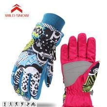 Дикие зимние водонепроницаемые лыжные перчатки, ветрозащитные перчатки для сноуборда и снегохода, зимняя спортивная одежда, флисовые теплые лыжные перчатки для детей