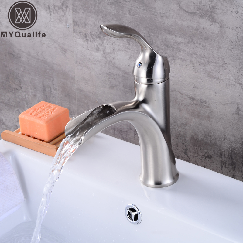 Brushed Nickel Waterfall Spout Bathroom Vanity Sink Faucet Single Lever One Hole Hot and Cold Washing Taps Free Shipping lefard сервиз izzie набор