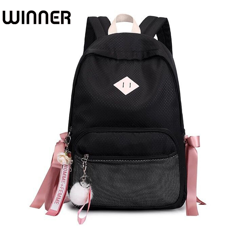 8c91c22b524a Hair Ball with Ribbon Backpack Women Mesh Pocket Laptop Rucksack Fashion  Waterproof Cute School Bag for Teenage Girls-in Backpacks from Luggage    Bags on ...
