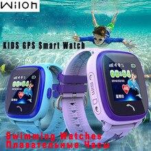 Impermeable gps tracker reloj para niños nadar pantalla táctil sos llamada de emergencia ubicación smart watch df25 usable dispositivos inteligentes