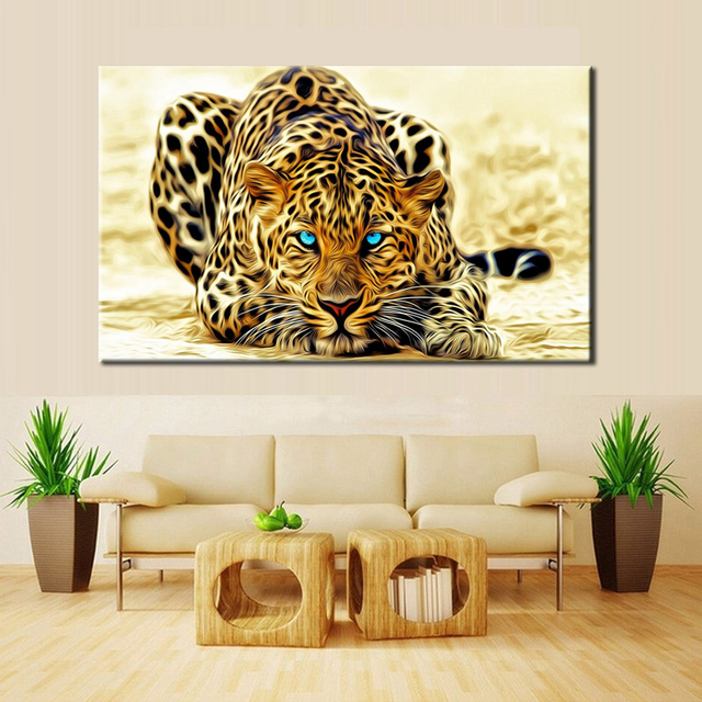 70x100cm Modern Paintings Hd Digital Printed On Canvas Wall Art Large Leopard Poster For