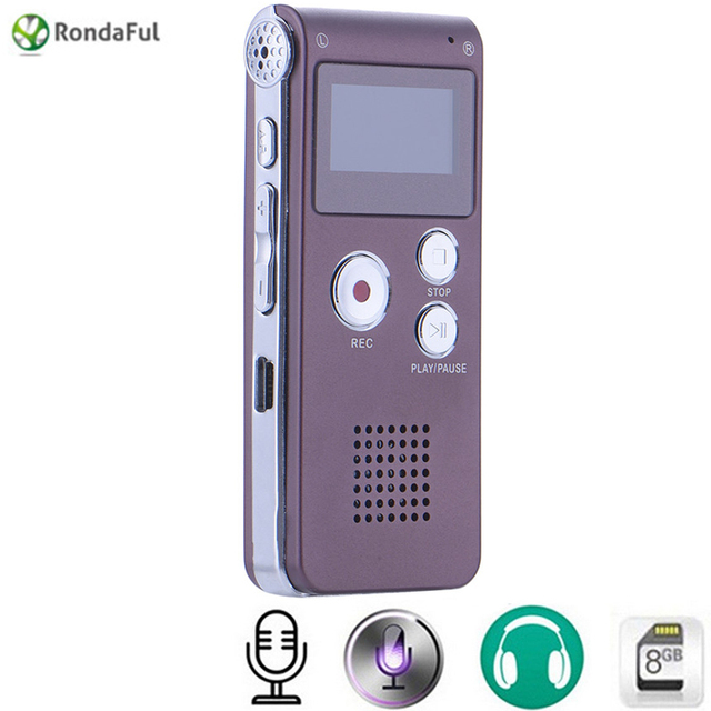 Rechargeable 8GB Brand Mini USB Flash Digital Audio Sound Voice Recorder 650Hr Dictaphone Dictaphone MP3 Player Coffeee gravador