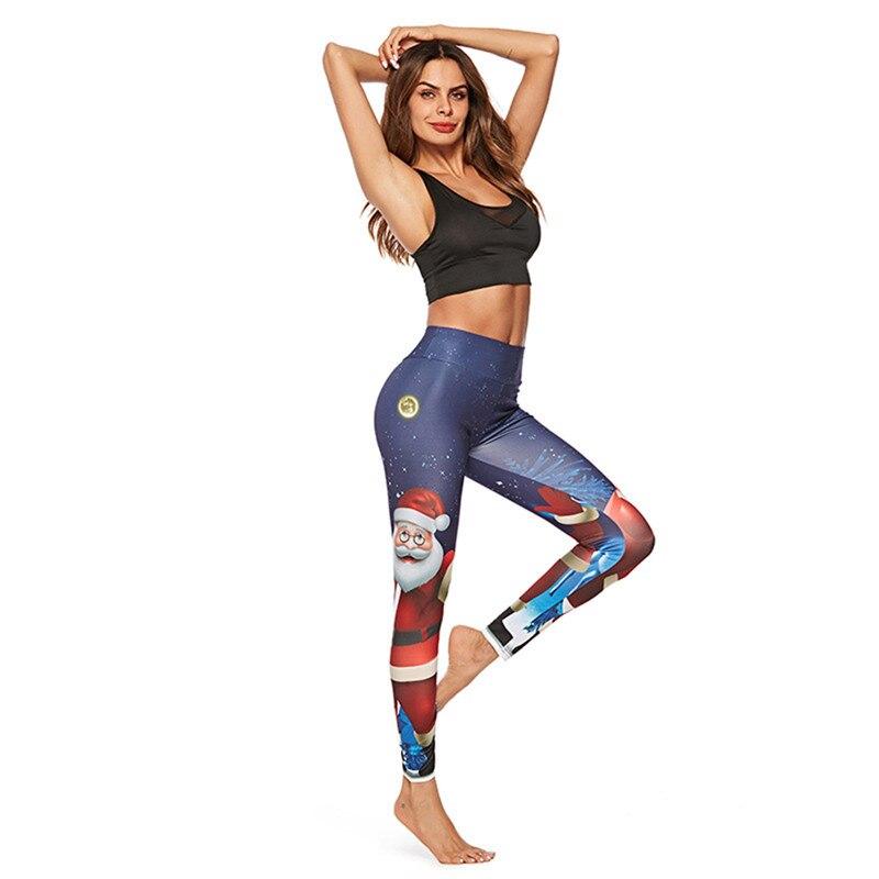 1 Pcs 2019 Neue Santa Claus Digital Print Sport Hüfte Strumpfhosen Yoga Hosen Sport Zubehör Leggins Sport Frauen Fitness