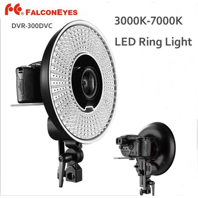 FALCON EYES DVR-300DVC 300 Ring LED Panel 5600K Light Lighting Video Film Continuous Lamp W/Camera Bracket/ filter недорого