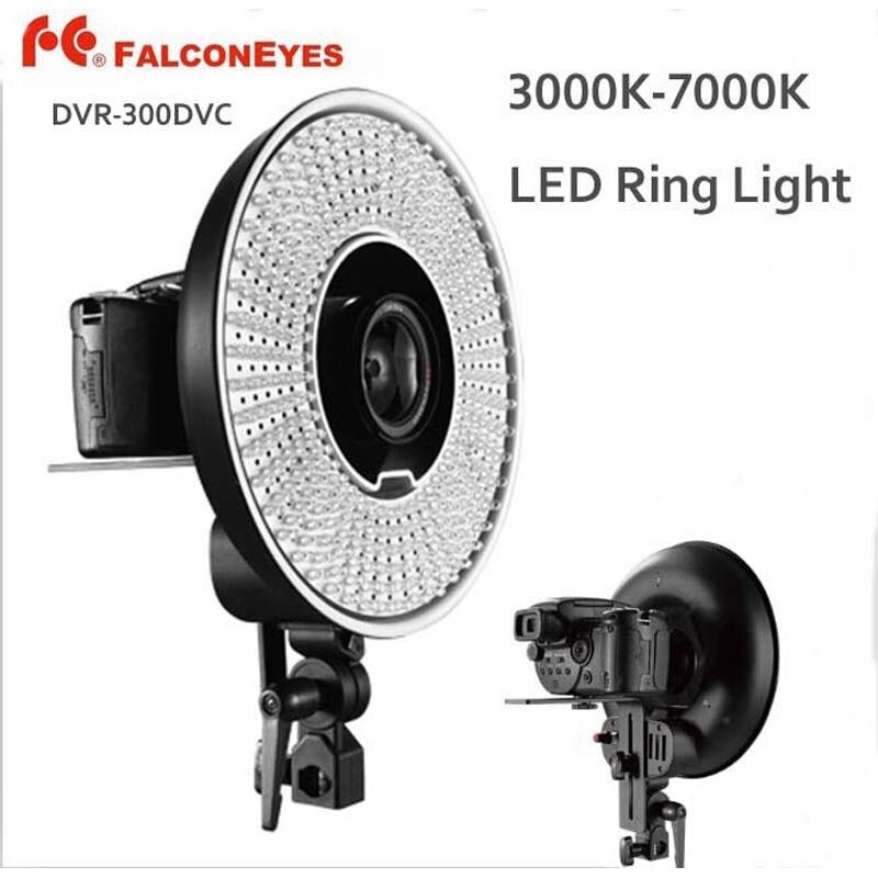 FALCON EYES DVR-300DVC 300 anneau LED panneau 5600 K lumière éclairage Film vidéo lampe continue W/support de caméra/filtre