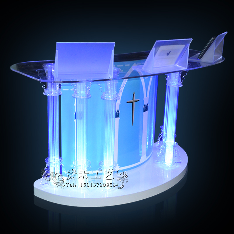 GUIHEYUN  Professional Acrylic Stand Up, Floor-Standing Podium, Lectern (Clear) Important Auditorium Activities Furnitures