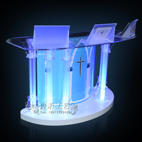 GUIHEYUN Professional Acrylic Stand up, Floor Standing Podium, Lectern (Clear) Important Auditorium Activities Furnitures