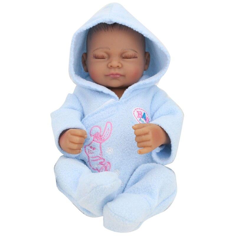 28 cm Mini bébé Reborn Silicone nouveau-né afro-américain bébé poupée noir plein Silicone corps Reborn bébé poupées enfants Playmate #