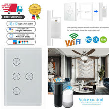 WiFi Smart Ceiling Fan Switch Compatible Touch Panel For Google Alexa Control US 58mm control panel for print head tp 628 compatible with ftp628mcl701