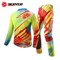SCOYCO Professional Motocross Suit Motorcycle Jersey Set Racing T Shirt Suit Riding Off road Pants Trousers Sports Clothing