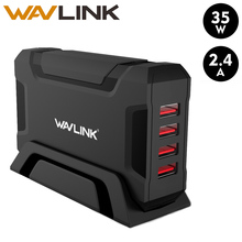 Wavlink 4Port Usb Charger Draagbare Reizen Usb Wall Charger Adapter Base Mobiele Telefoon Oplader Universele Travel Voor Iphone Samsung