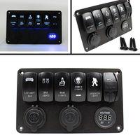 6 Gang 12V Rocker Switch Panel with Cigarette Lighter Socket Car Marine Boat LED Waterproof