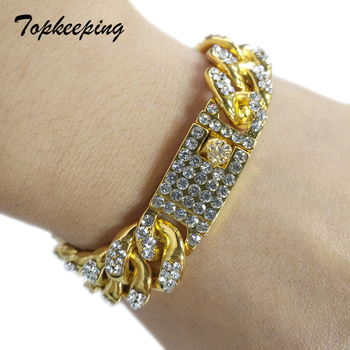 Mens Luxury Gold Color Iced Out Rhinestone Fashion Bracelets & Bangles Miami Cuban High Quality Link Chain Bracelet for Hip Hop