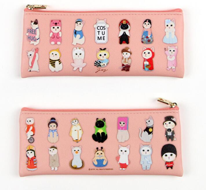 Cute Cartoon Choo Chool Cat Slim Case 195mm*80mm Lovely Cat Theme Zipper Pencil Bag