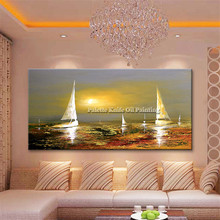 Gold art boat sailing painting on canvas quadros caudros decoration Acrylic abstract wall art picture for living room home decor