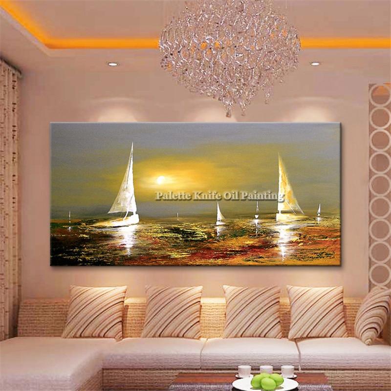 Gouden kunst boot zeilen schilderij op canvas quadros caudros - Huisdecoratie