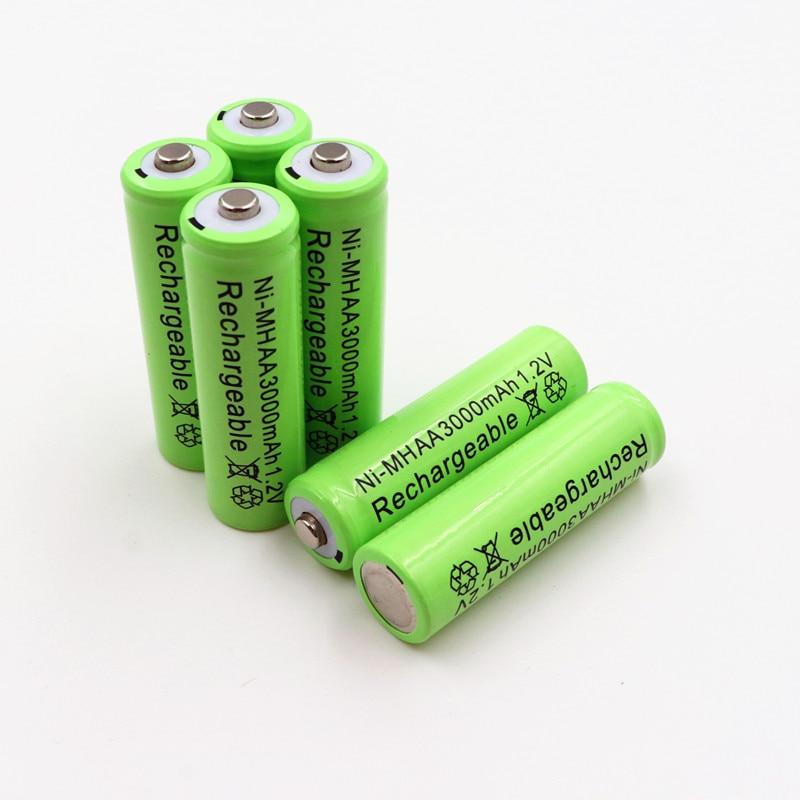 PINTTENEN AA Rechargeable Battery NiMH 1.2V 3000mAh+Universal Smart 3-Slot AA/AAA Rechargeable Battery Charger Adapter USB Plug