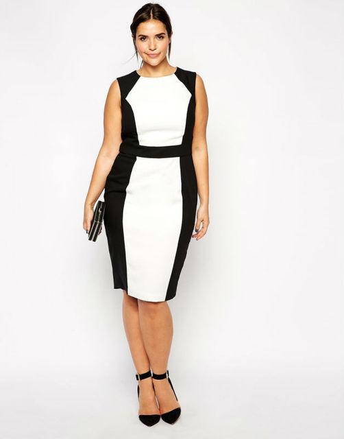 Fashion design clothing for ladies sexy midi dress plus size party dress  with black and white patchwork 3xl-6xl 019 eba859e9b5bd