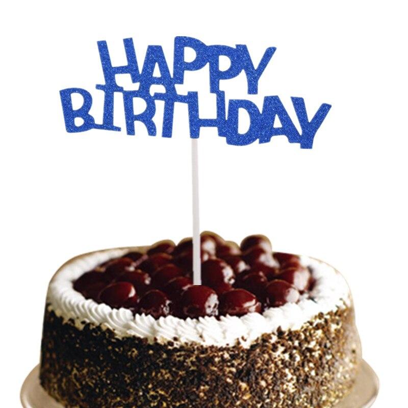 Super Buyetm Buy Blue Happy Birthday Cake Topper Flags Glittler Multi Personalised Birthday Cards Xaembasilily Jamesorg