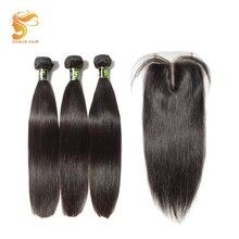 AOSUN שיער 3 חבילות שיער ברזילאי ישר עם סגירה 4 * 4 סגירת תחרה עם שיער האדם הרחבת שיער טבעי Remy שחור