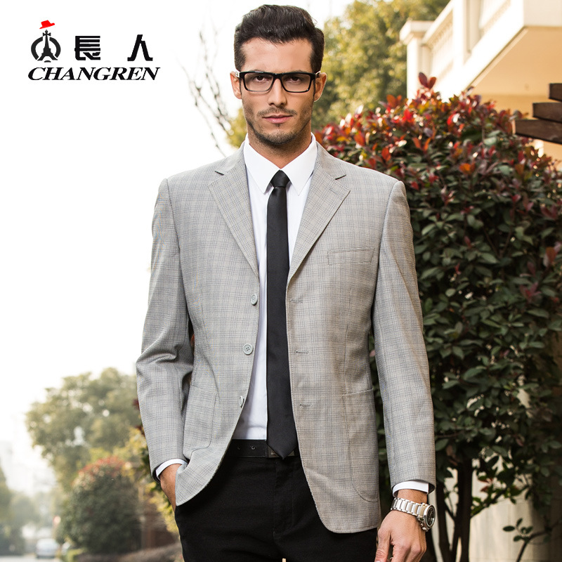 Aliexpress.com : Buy 2016 Spring Autumn Light Grey Plaid Suit ...