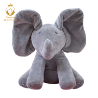 30CM Plush ANIMATED FLAPING the Peek A Boo ELEPHANT plush toy SINGING baby music toy Ears Flap And Move funny toys