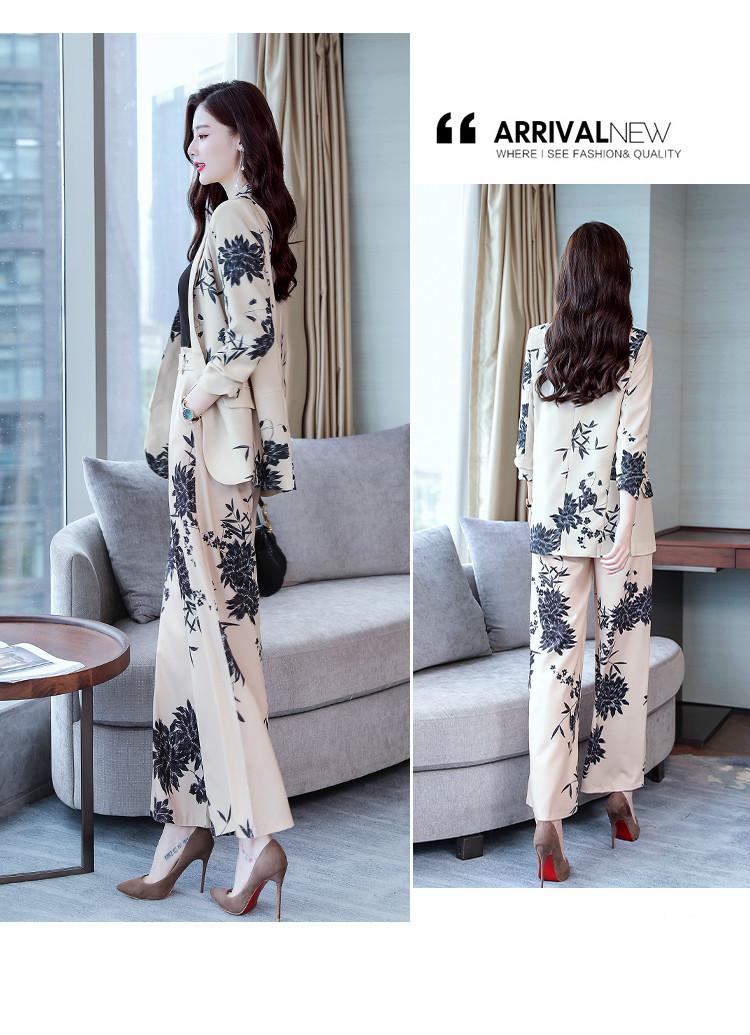 YASUGUOJI New 2019 Spring Fashion Floral Print Pants Suits Elegant Woman Wide-leg Trouser Suits Set 2 Pieces Pantsuit Women 14