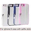 3 en 1 caso selfie stick para iphone 6 6 s plus multifunción plegable extensible de aluminio cubierta con disparador remoto bluetooth